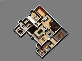 天津新中式会所设计二层效果