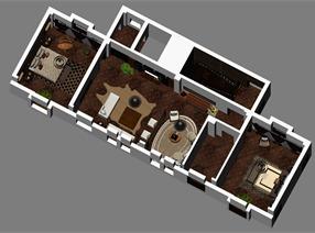 天津新中式会所设计三层效果