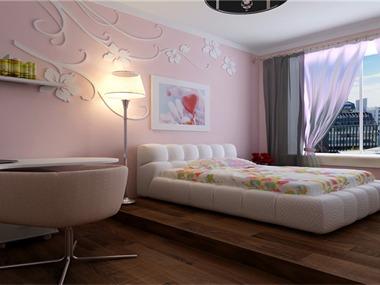 少女般粉红色的柔美在客卧室里流动,粉色调让人目不转