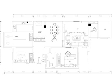 户型是错层,平面方案加了一个房间.中式里面要求所有