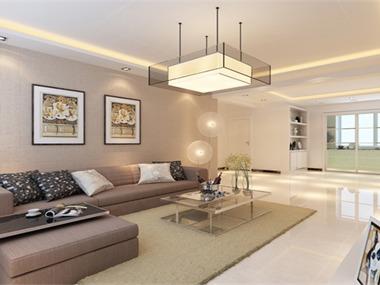 设计理念:进户看到素雅的L型沙发,配以浅色地毯穿插