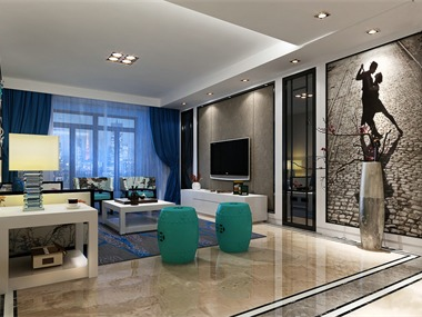 新中式客厅电视背景墙效果图