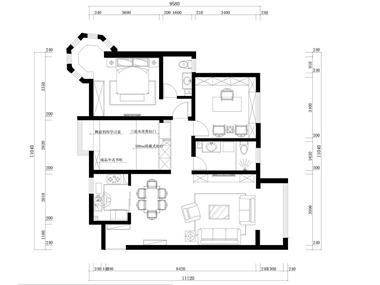 中式客厅全景平面效果图