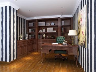 新古典书房工作区效果图