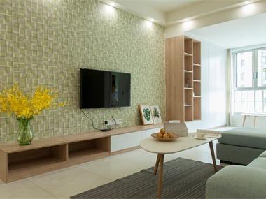 北欧客厅电视背景墙实景图
