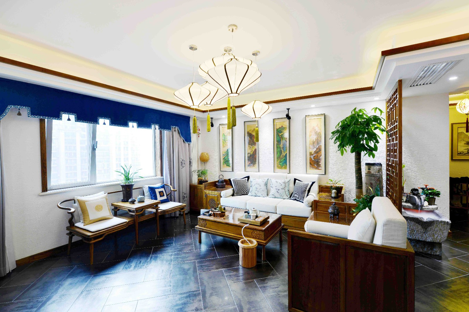 中式客厅沙发背景墙实景图