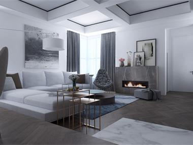 现代客厅壁炉效果图