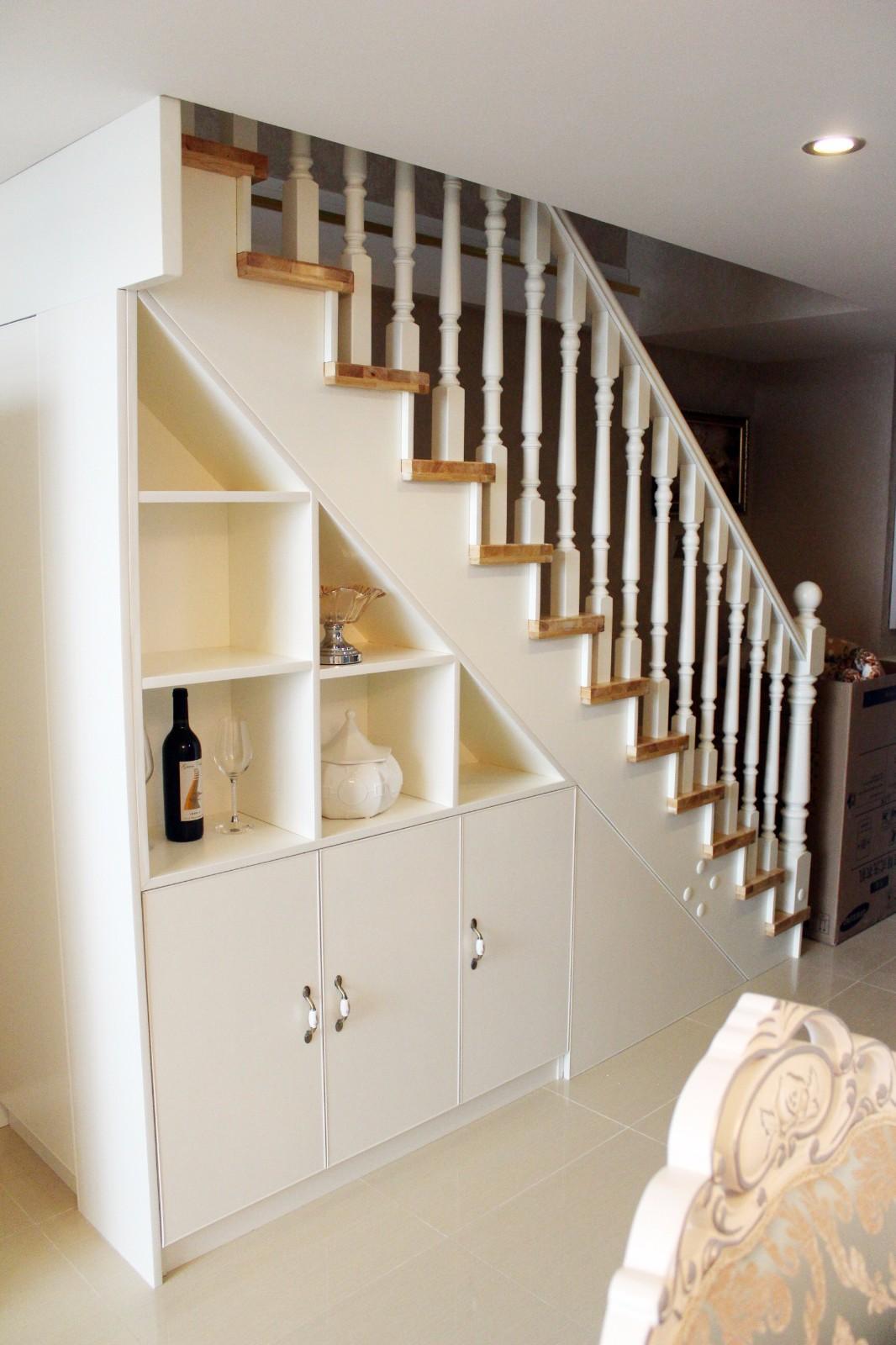 简欧客厅楼梯实景图
