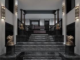 中式过道楼梯效果图