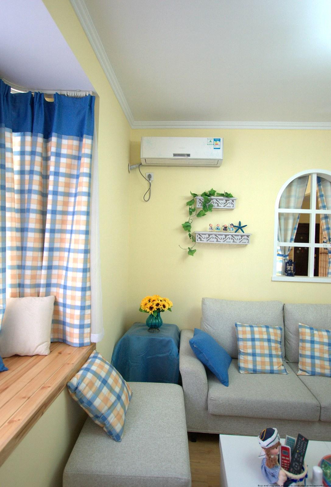 地中海客厅沙发背景墙实景图