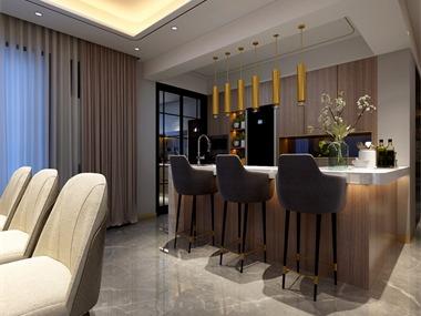 现代餐厅吧台效果图