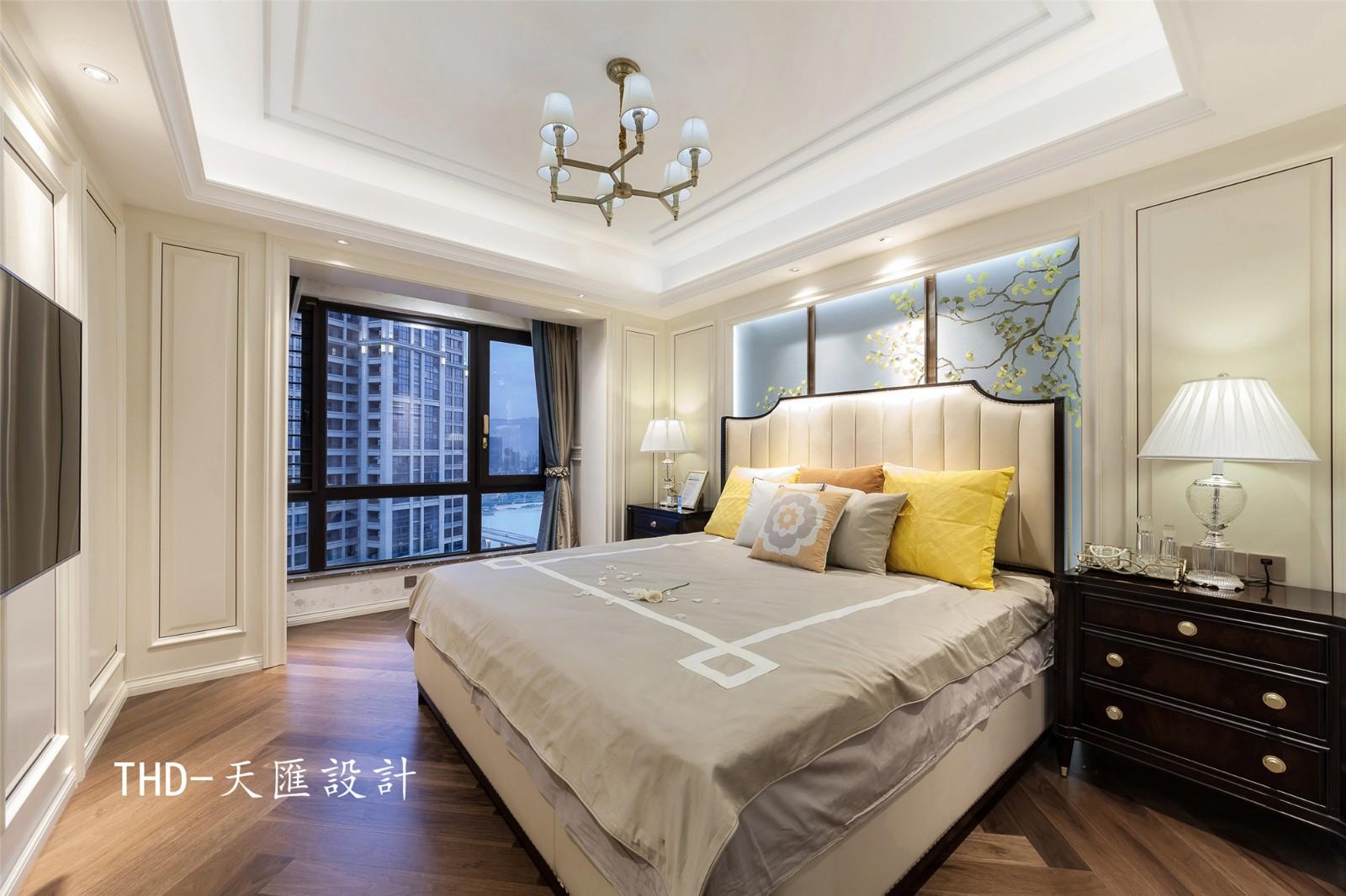 美式卧室背景墙实景图