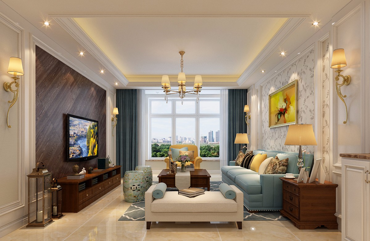 客厅以米色做为基调,电视墙用深色木地板做造型