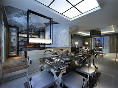 现代餐厅吊顶效果图