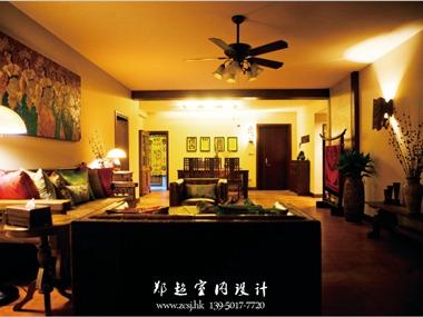 东南亚客厅沙发背景墙效果图
