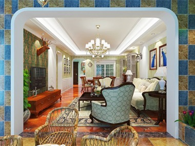 美式客厅隐形门效果图