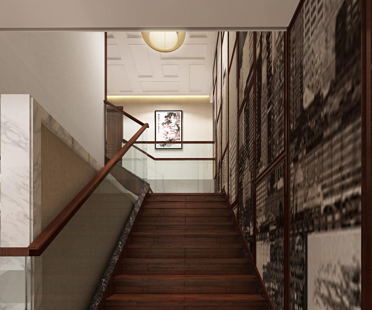 中式楼梯效果图