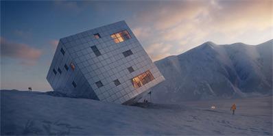 它看着像一个被扔到雪地里的玩具,但实际是一个酒店的设计