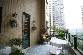 地中海阳台背景墙实景图