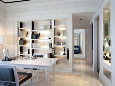 欧式风格采用白色、淡色为主,以淡色的色调对比跳跃的